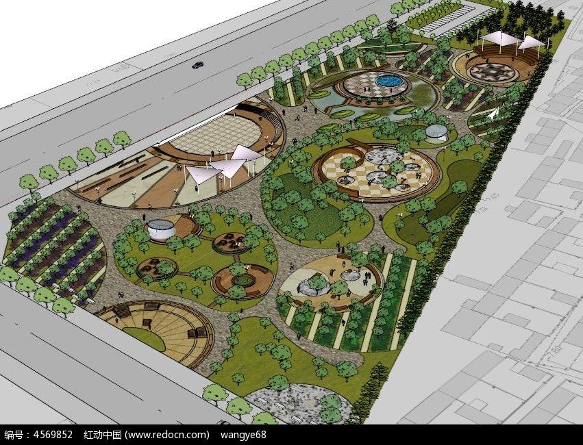 公园广场设计su模型
