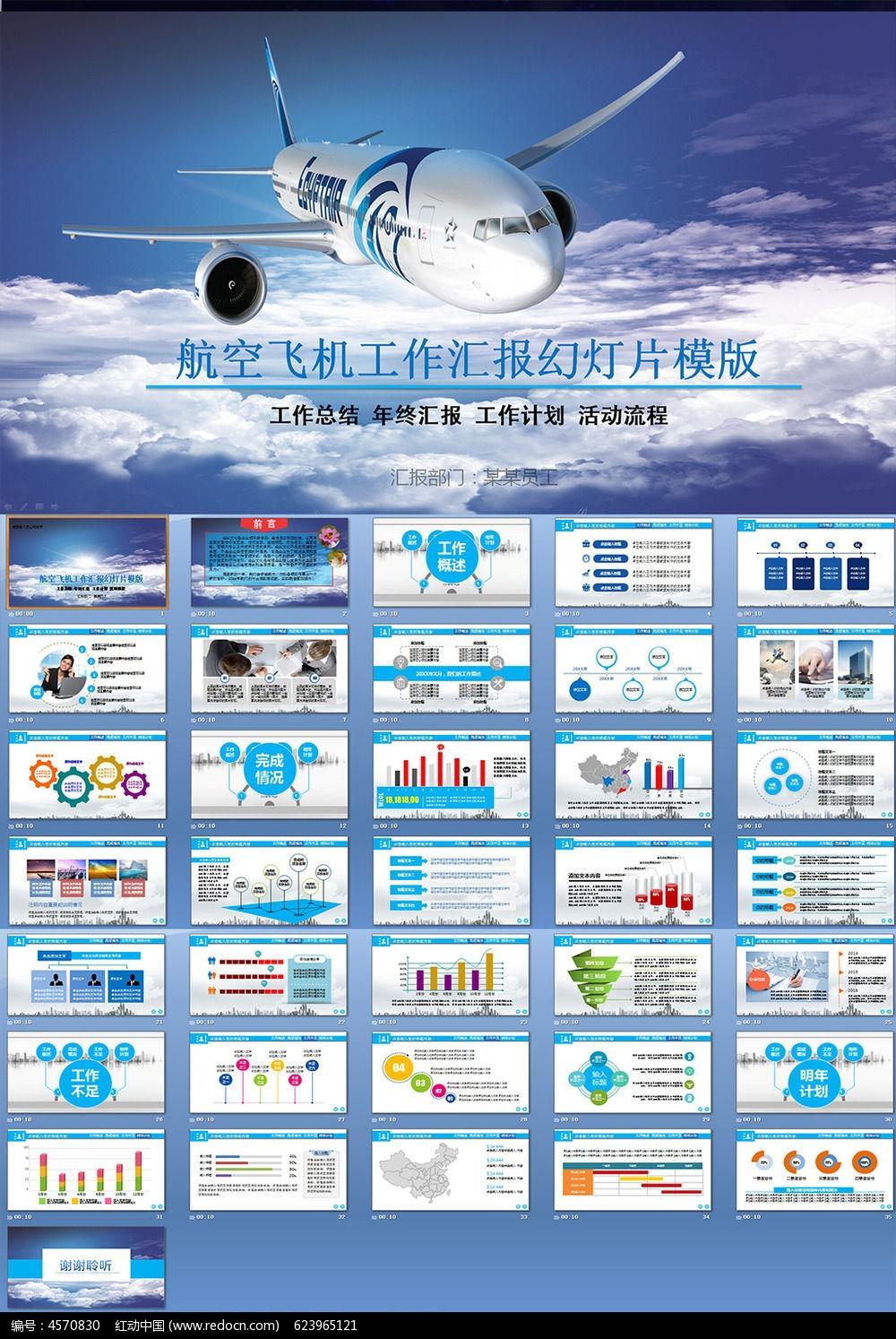 航空飞机会议总结ppt模板pptx素材下载_商务贸易ppt图片