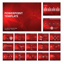 红色几何背景动画PPT模板