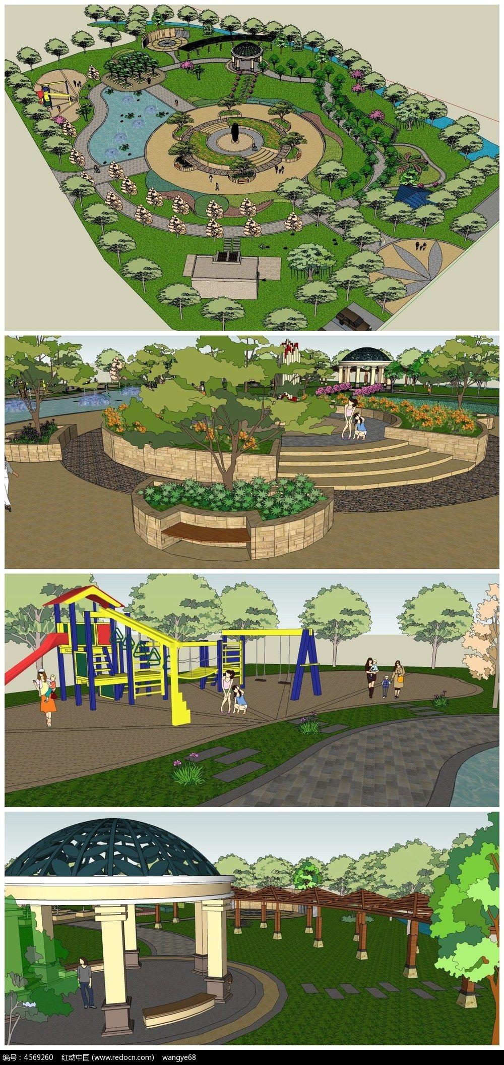 健身亭子公园景观su模型