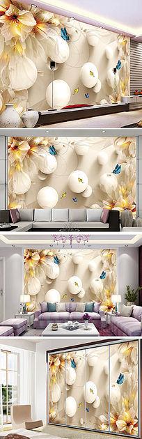 唯美梦幻花朵百合电视背景墙