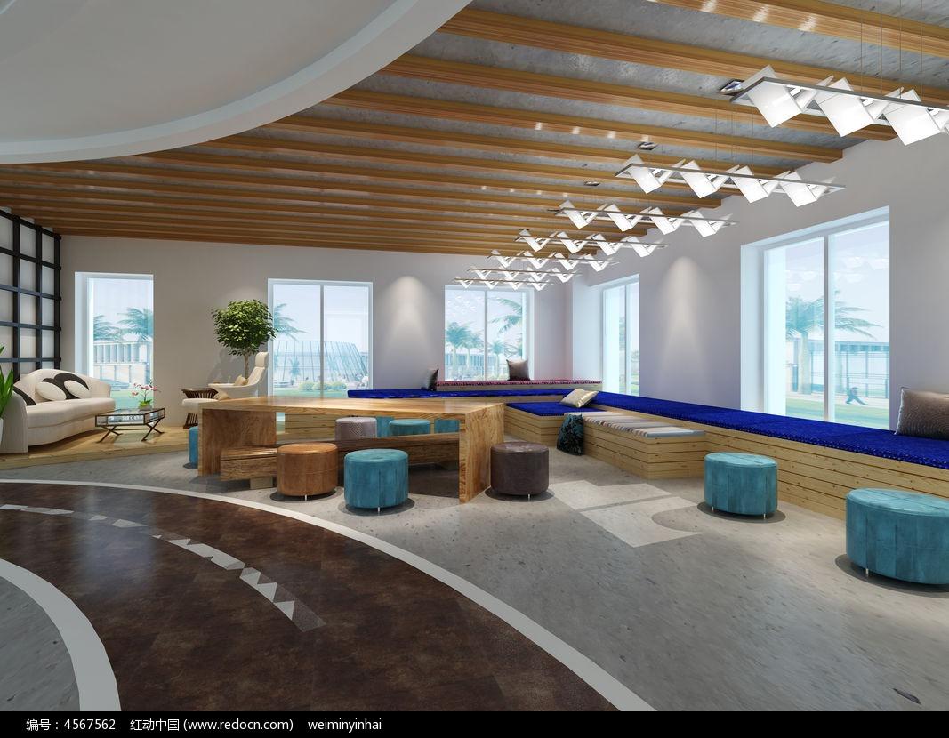 原创设计稿 3d模型库 室内装修 现代办公楼整体洽谈区休闲区3d模型