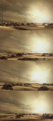 荒凉原野上不断延伸的电线视频素材