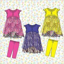 可爱女童裙子手稿 童装设计  雪纺可爱裙子