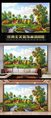 油画农家乐电视背景墙