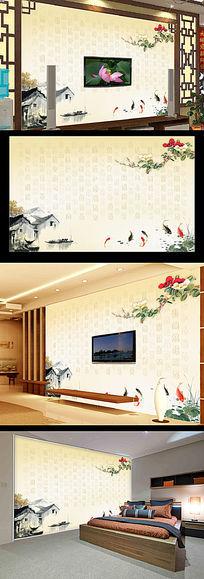 中式百福九鱼图电视背景墙