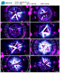 3D绚丽多边形立体旋转圆环背景视频素材