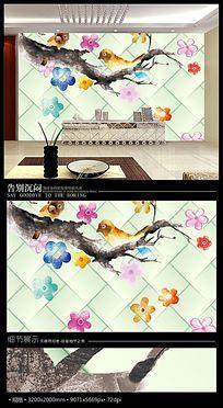 卡通彩绘小鸟3D软包电视背景墙