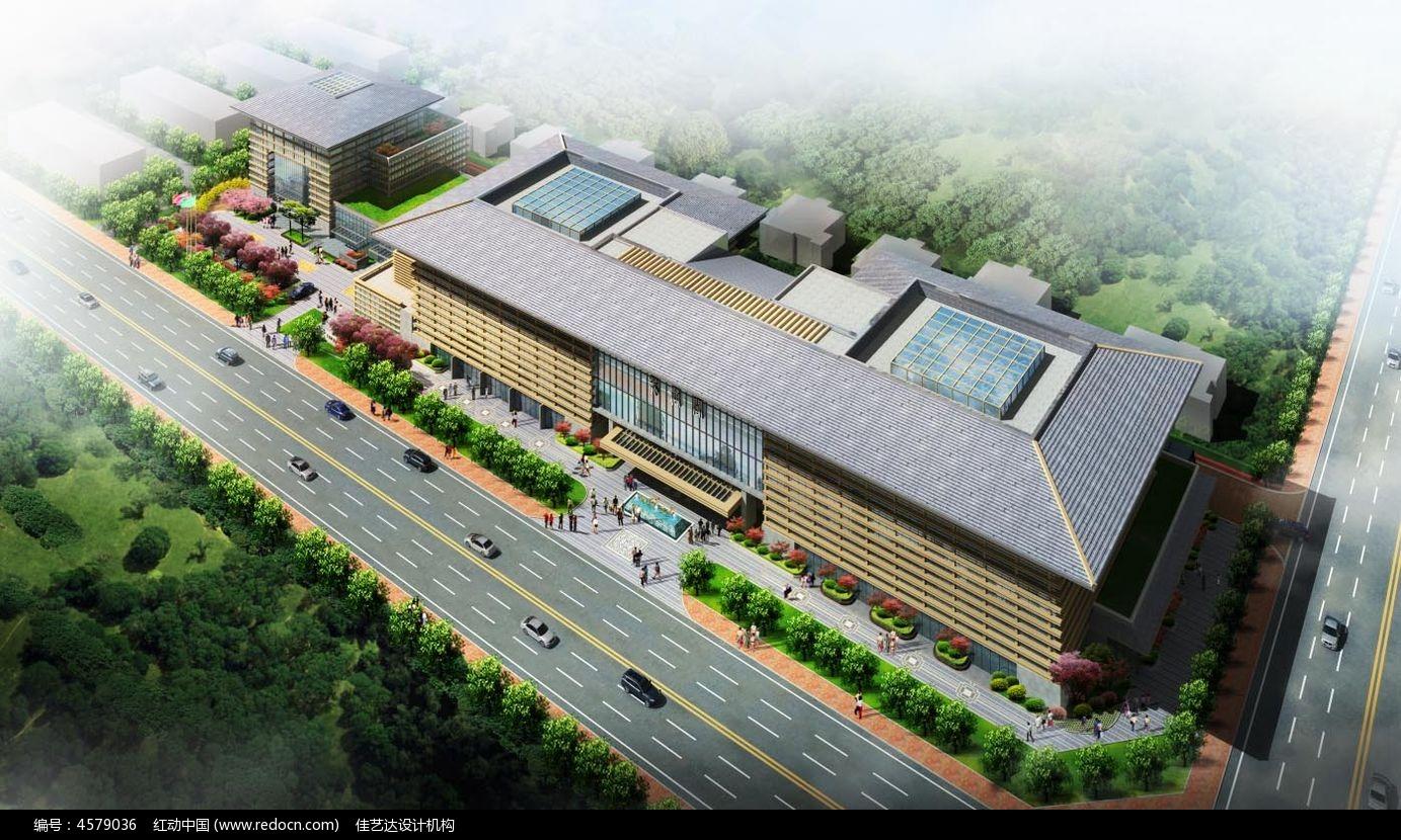 现代中式酒店建筑3d模型图片图片