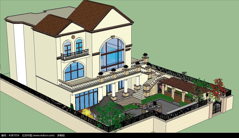 欧式庭院景观skp模型