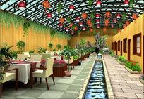 生态餐厅整体模型带贴图后期