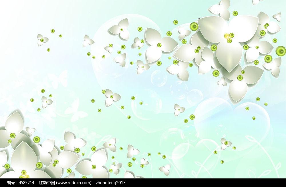 梦幻手绘花朵电视背景墙