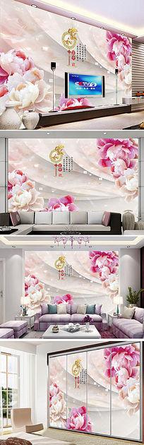 3D立体玉雕花朵电视背景墙
