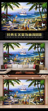海景椰树欧式电视背景墙