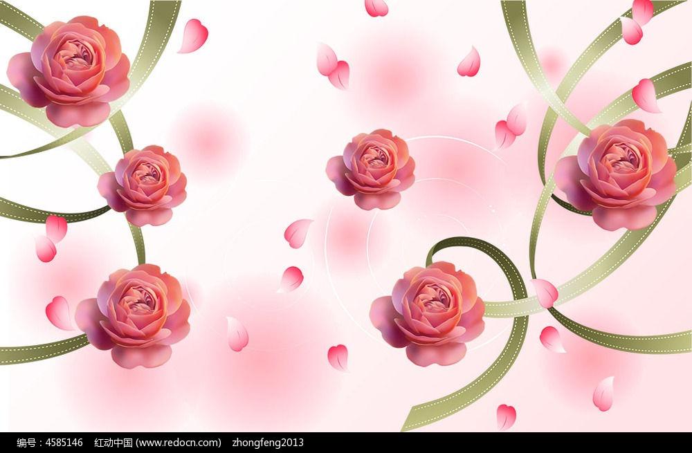手绘唯美花朵电视背景墙
