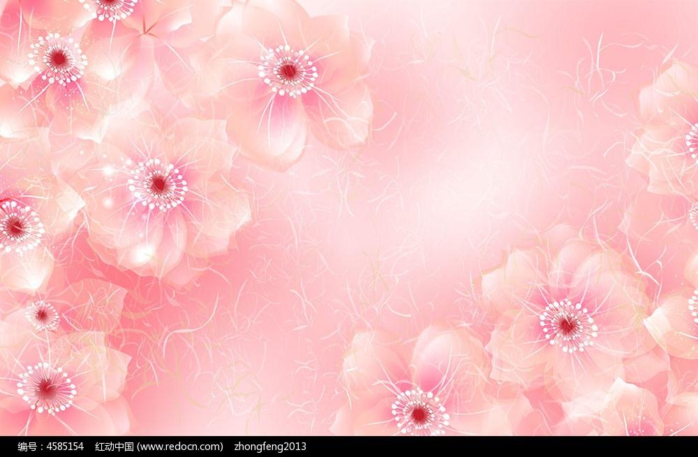 欧式田园风卧室粉色花朵墙布