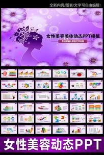 紫色女性美容化妆品PPT
