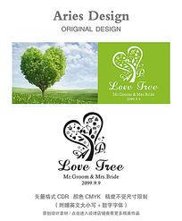 婚礼英文字体模板CDR爱情树 CDR