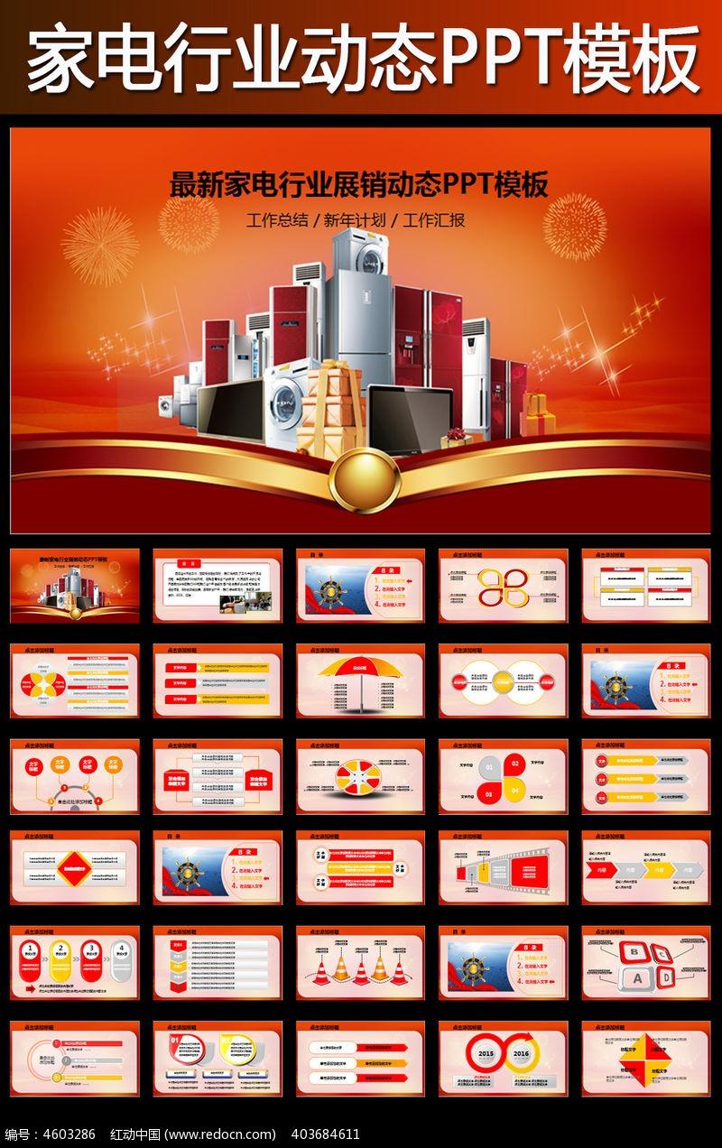家电行业生产销售会议总结PPT模板pptx素材下载 编号4603286 红动网