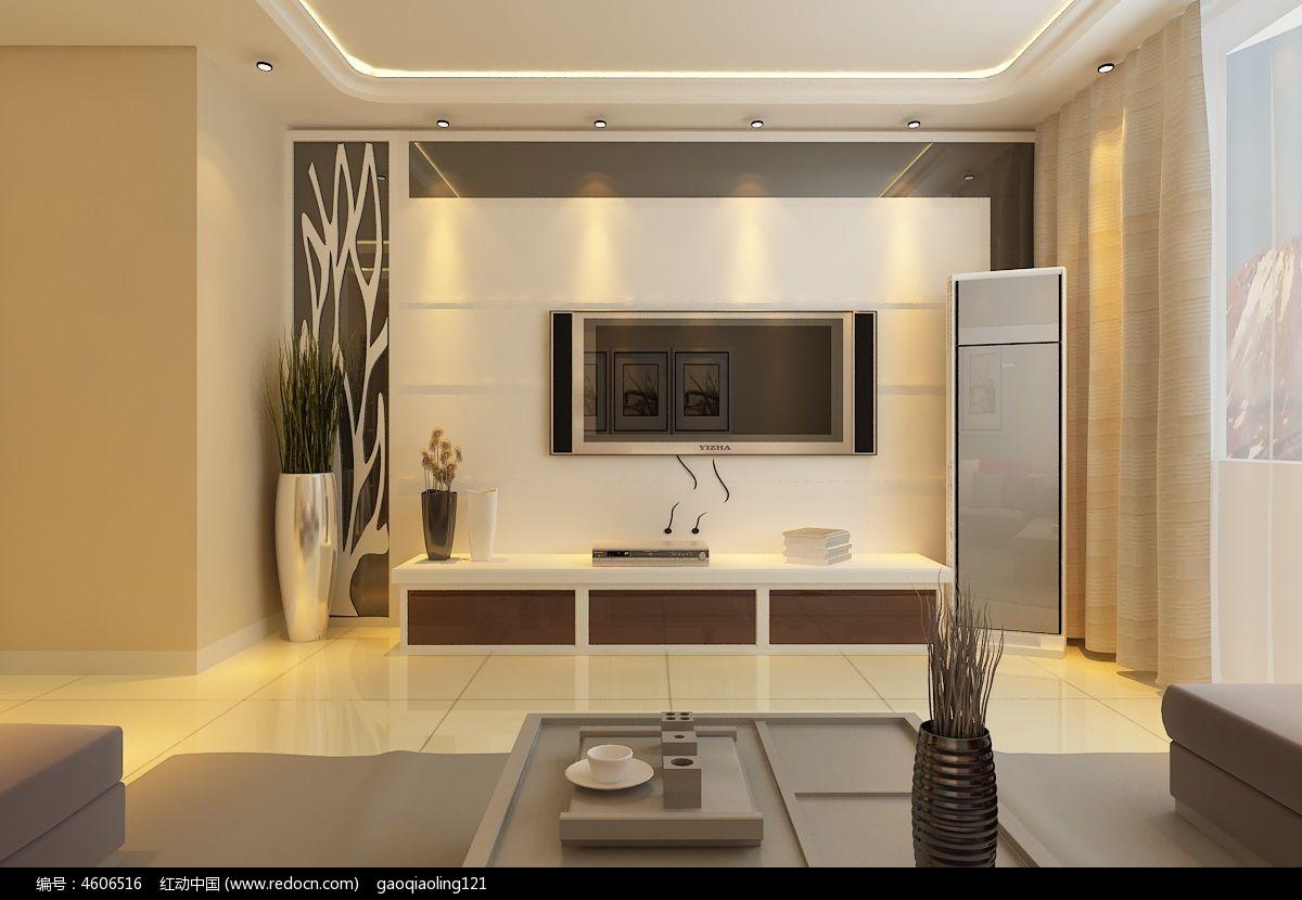 室内电视背景墙造型模型
