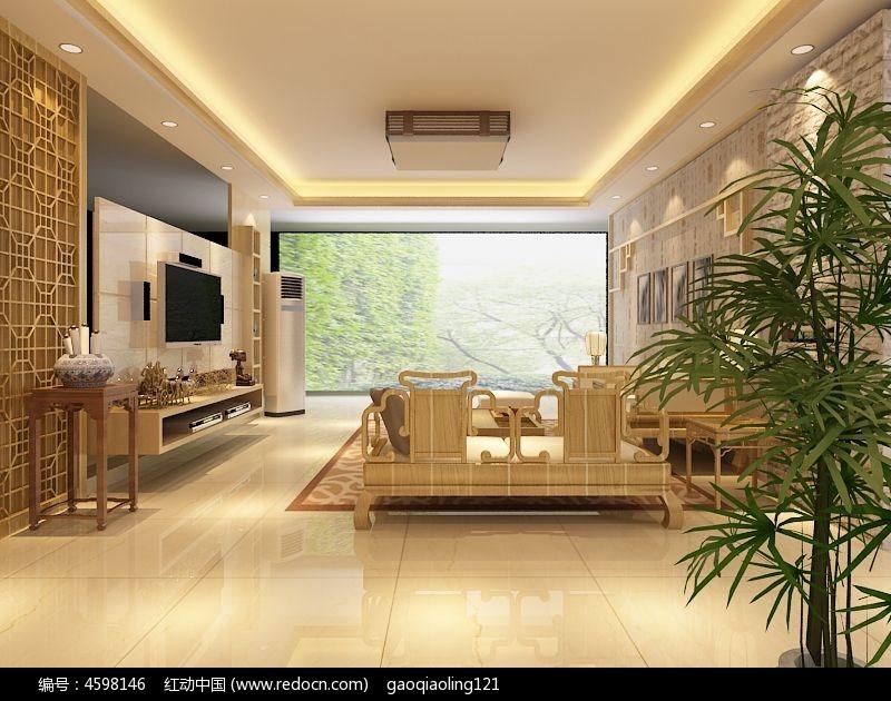 现代中式客厅装修模型3dmax素材下载