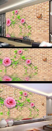 复古砖墙电视背景墙