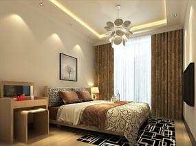 现代简约主卧室3d模型下载