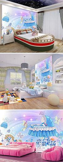 卡通宝宝儿童卧室背景墙
