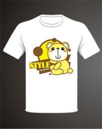 卡通黄色泰迪熊T恤印花图案