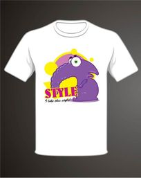 卡通紫色怪兽文化衫T恤印花图案