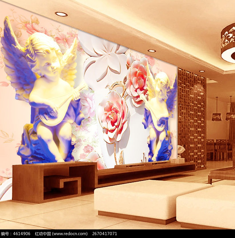 欧式浮雕花朵电视背景墙