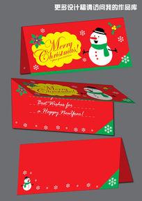 圣诞节雪人红色卡片设计