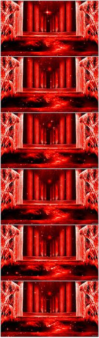 红色梦幻LED背景教堂罗马柱