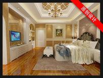 现代偏欧式卧室3D模型