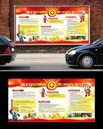 消防安全宣传psd展板设计