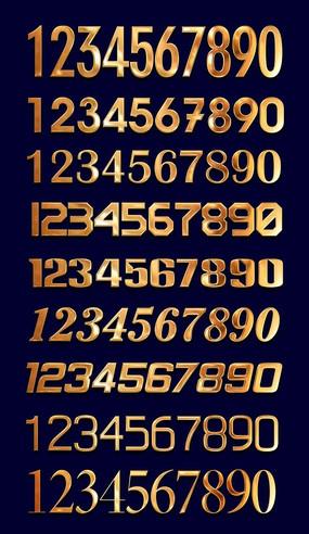 金色质感阿拉伯数字设计