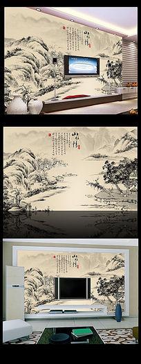 中国风水墨画电视背景墙