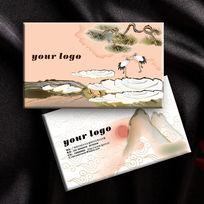 中国风仙鹤收藏家名片设计