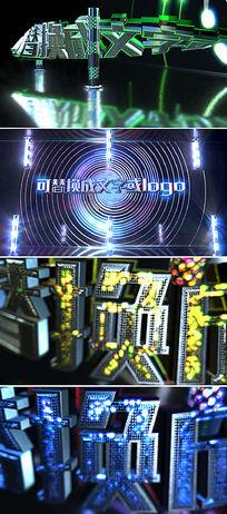 3D华丽发光质感LOGO标志AE模板