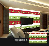 彩条小树卧室背景墙