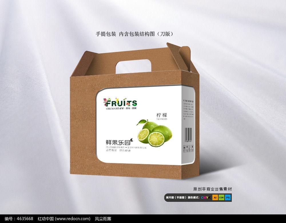 时尚青柠檬水果包装箱设计