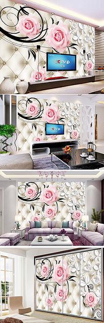 3D玫瑰花仿软包电视背景墙