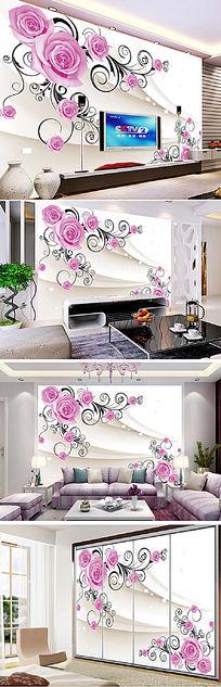 3D玫瑰花软包室内电视背景墙
