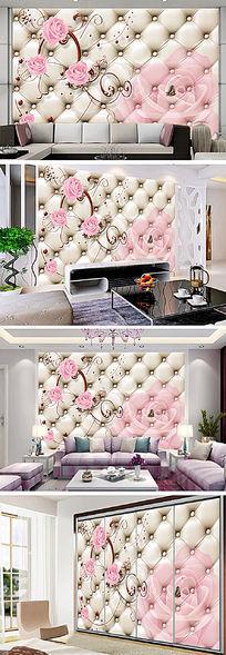 3D欧式花纹玫瑰电视背景墙