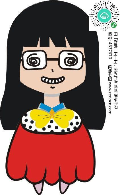 戴眼镜的小女生卡通形象