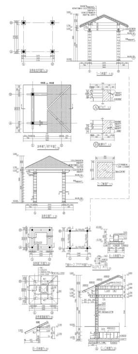茶亭别墅建筑CAD图字体船型v茶亭图片