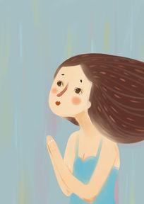 原创祈祷的女孩插画