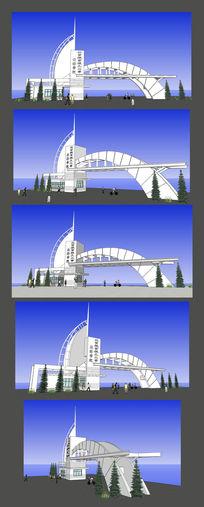北京航空大学大门口SU设计模型