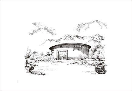 钢笔线描风景画