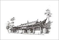 钢笔线描古建筑风景 CDR